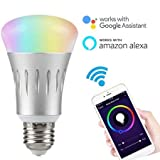 Smart Bulb LED Compatible with Alexa Echo, Google Assistant, WiFi Supported – Multi Color – Dimmable – No Hub Required – 10W (80W Equivalent)