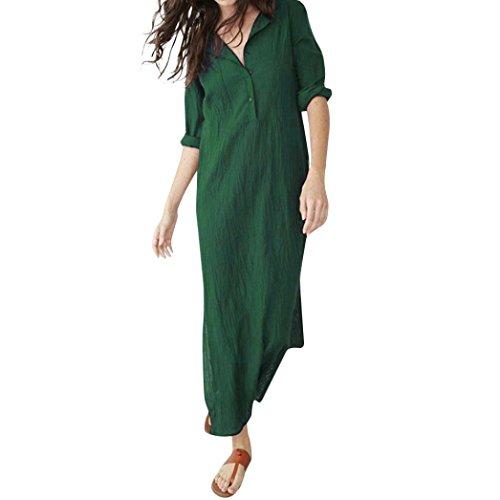 Women Solid Cotton Linen Dress,Realdo Casual Long Sleeve O-Neck Button Baggy Splits Maxi Dress(Green,Small) ()