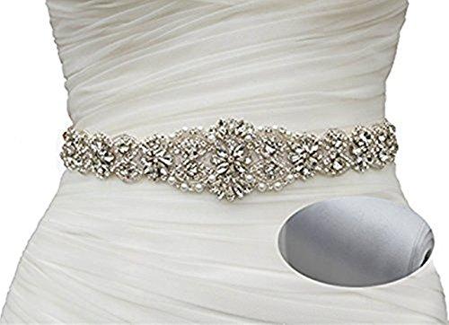 SoarDream Silver Wedding Belt Wedding Dress Sash and Belts Sparkly Belts for Dresses