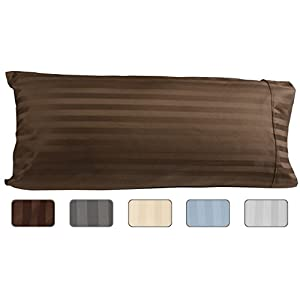 American Pillowcase Egyptian Cotton Luxury Striped 540 Thread Count Body Pillow Cover, 21 x 60 Inch, Striped Chocolate