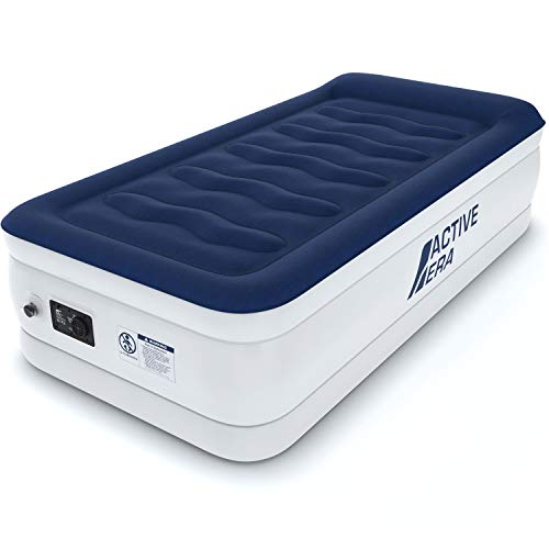 Active Era Luxury Twin Size Air Mattress Single – Elevated Inflatable Air Bed, Electric Built-in Pump, Raised Pillow Structured I-Beam Technology, Height 21