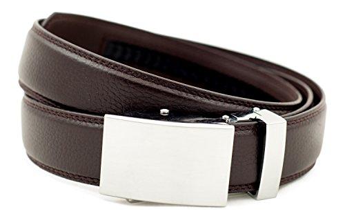 Dark Brown Leather Buckle (Anson Belt & Buckle - Men's Classic Silver Buckle with Dark Brown Leather)