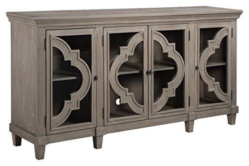 Ashley Furniture Signature Design - Fossil Ridge 4-Door Accent Cabinet - Gray Finish - Black Metal Hardware - Quatrefoil Pattern on Glass Panel Doors ()