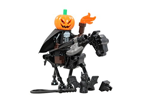 LEGO Halloween Headless Horseman + Skeleton Horse Toy - Custom Spooky Monster Minifigure (Legend of Sleepy Hollow) -