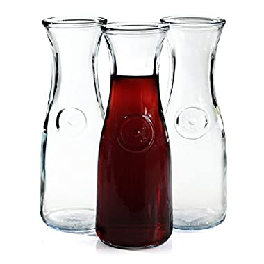 Anchor Hocking 0.5 Liter Glass Wine Carafe, Set of 3