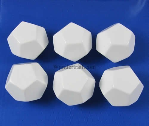 White D12 Blank 25mm Dice Set with Stickers (6) by Koplow Games