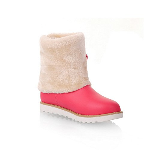 US Non Solid Round 5 Slipping Womens Plush Boots Sole Closed Toe Short M Peach B PU Heels AmoonyFashion with 7 Low wqz7zR