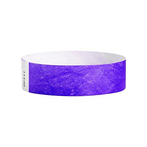 (WristCo Purple 3/4 Inch Premium Black Light Security 500 Count Paper Wristbands for Events)