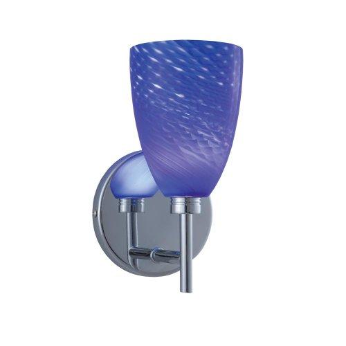 Jesco Lighting WS220-BU/SN Goblet Series 220 1-Light Wall Sconce, Blue/Satin