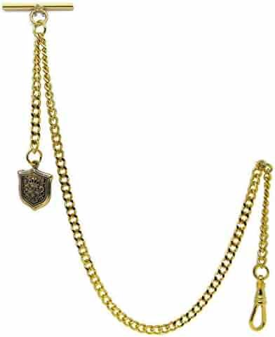 Gold Albert Chain Pocket Watch Curb Link Chain Fob T Bar + Swivel Clip + Ancient Shield Design Fob AC98