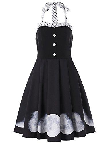 DRESSFO Dress Halter Lunar Phase Print Vintage Halter Summer Dresses for Women from DRESSFO