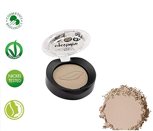 PuroBIO Certified Organic Ultra-Pigmented and Long-Lasting Matte Eyeshadow with Jojoba Oil and Vitamin E - 02 Matte Dove Gray. ORGANIC. NICKEL TESTED. VEGAN. MADE IN ITALY