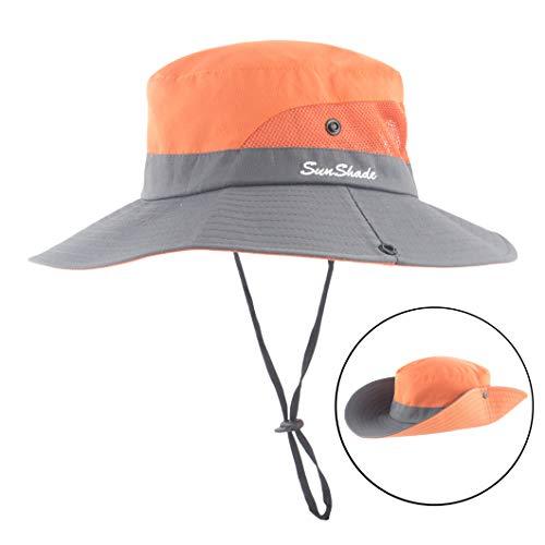 (Women Outdoor Sun Hat UV Protection Wide Brim Mesh Foldable Safari Beach Fishing Bucket Cap)