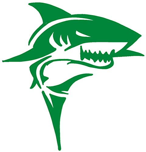 (hBARSCI Shark Vinyl Decal - 5 Inches - for Cars, Trucks, Windows, Laptops, Tablets, Outdoor-Grade 2.5mil Thick Vinyl - Green)