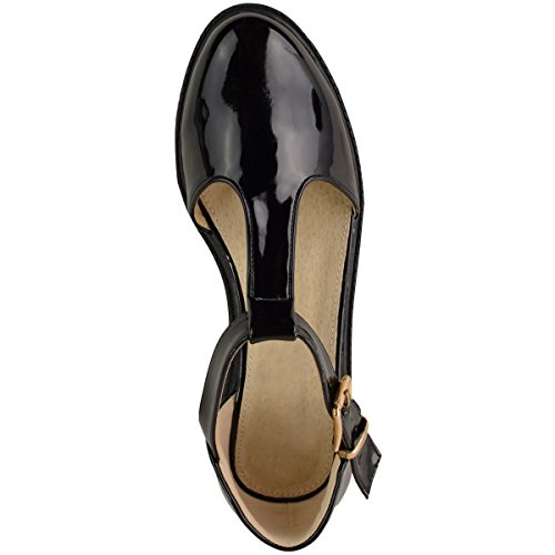 Ladies Womens Girls School Shoes Cut Out Chunky Dolly Geek Work Pumps Size black patent wO9ovLiR4