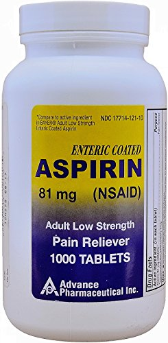 - Aspirin Adult Low Dose Enteric Coated 81 mg Generic for Bayer Aspirin Low Dose 1000 Tablets Per Bottle