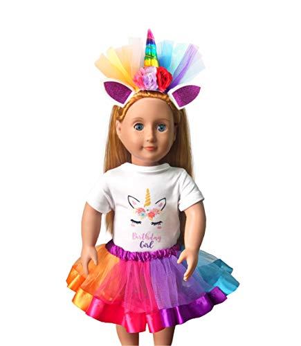 Girls Layered Tutu Skirt with Unicorn Tshirt, Headband & Satin Sash (Doll & Girls Rainbow, Doll Tutu Only) ()