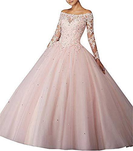 Scarisee Women's Long Sleeves Off Shoulder Ball Gown Prom Quinceanera Dresses Lace Appliqued Evening Party Gowns Blush 4 -