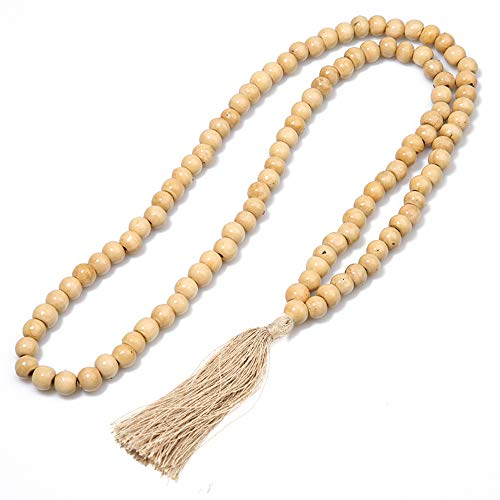 BALIBALI 8MM Wood Mala Bead Necklace Long Fashion Multicolor Tassel Charms Chain Necklace Handmade Beaded Pendant Necklace for Women Men