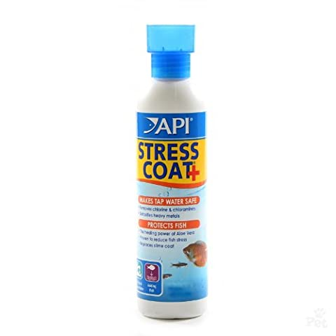 API Stress Coat + Makes Tap Water Safe healing Power of Aloe Vera Plus / 8-Ounce - Api Tap Water Conditioner