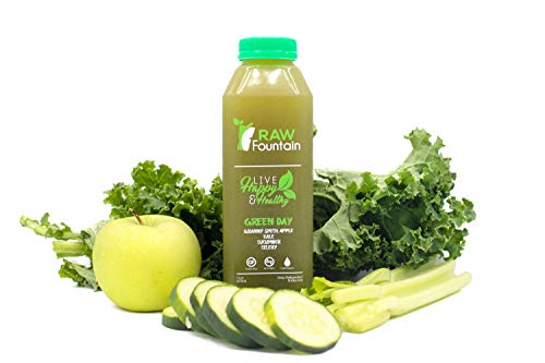 3 Day All Green Juice Cleanse by Raw Fountain - 100% Fresh Natural Organic Raw Green Juices -Give Your Body The Detox It Deserves! - 18 Bottles (16 fl oz) + 3 Bonus Ginger Shots (3 Day) by Raw Fountain   (Image #4)