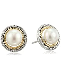 Sterling Silver and 14k Yellow Gold Freshwater Pearl with Diamond Accent Stud Earrings