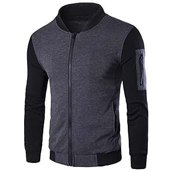Littleice for Men Long Sleeve Mathing Zipper Jacket Coat