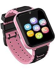 Kids Smartwatch Telefoon voor jongens meisjes met HD Touchscreen, Smart Horloge voor kinderen met Games Muziekspeler Twee-weg Call SOS Zaklamp Calculator Recorder Wekker, Verjaardagscadeaus voor 3-12Y (ROZE)
