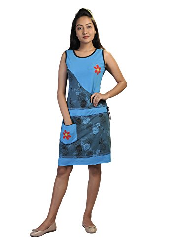 Vestido sin mangas del verano de las mujeres con parches de flores y bordado Blue