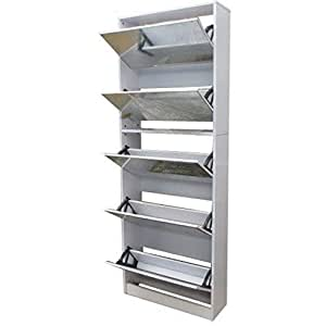 Vogue Stackable Mirrored Shoe Cabinet, White - H 170.5 cm X W 63 cm X D 24 cm, Mdf Material