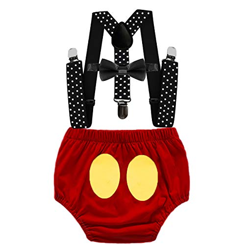 MYRISAM Baby Boys Mickey Costume 1st Birthday Cake Smash Photo Prop Outfit Bloomers Suspenders Bow Tie 6-12M