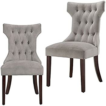 Amazon Com Curved Dining Chair Set Of 2 Buttoned Tufted