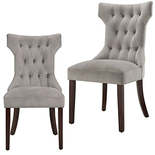 (Curved Dining Chair Set of 2 Buttoned Tufted Plush Microfiber Upholstery Foam Pudded Wooden Legs Hourglass Modern Grey and Espresso Dining Chair Set eBook by)