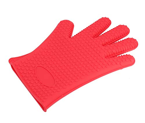 ZJYSM Comfortable Wearable Flexible Lightweight Silicone Gloves Five-Finger Gloves Microwave Anti-hot Gloves High Temperature Insulation Barbecue Gloves Gloves (Color : Red)