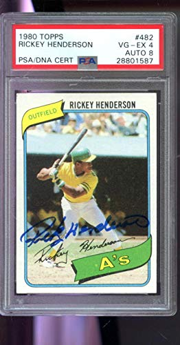 1980 Topps Rickey Henderson ROOKIE Signed AUTO Autograph Graded Card - PSA/DNA Certified - Baseball Slabbed Vintage Cards