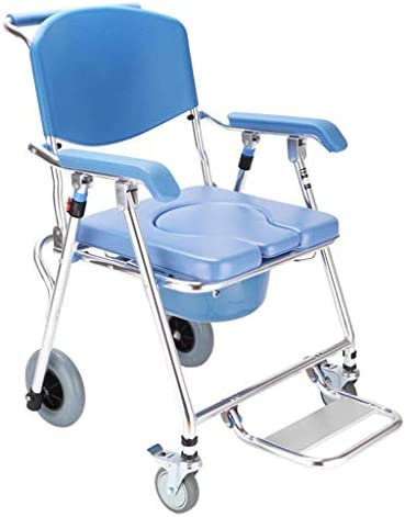 MSCOOL 2020 New Rollstuhl, Toilettenmobil Stuhl, Toilette Stuhl Mit Rädern Sitz Rollstuhl, Dusche Transport Stuhl, Faltbare Mobil Stuhl, Load Bearing 350Lb