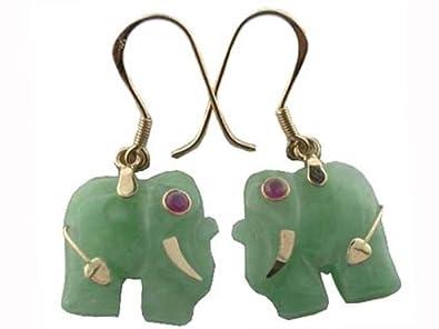 Amazon light green jade lucky elephant earrings 14k gold light green jade lucky elephant earrings 14k gold freerunsca Images