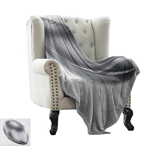 Gray Denali Fleece - baby monthly milestone blanket Grey,Realistic American Football in 3D Style Sports Theme Champion Victory Trophy, Gray Pale Grey White Microfiber All Season Blanket for Bed or Couch Multicolor 70