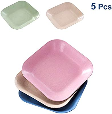 Non-Toxic Lightweight BPA Free Salad//Cake//Dissert Dishes for Baby Kids 4 Colors anti-fallen 4-Pcs 7.8 Wheat Straw Dinner Plates Microwave /& Dishwasher Safe Toddler