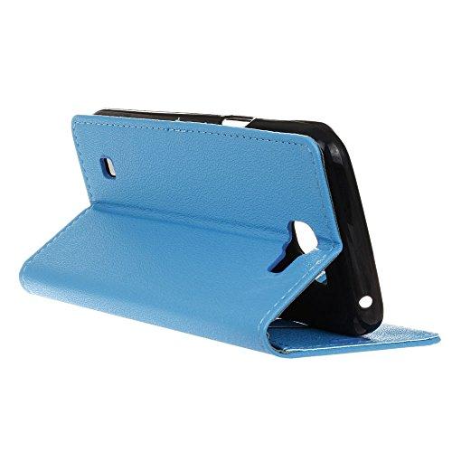 Funda LG K4 , Aomo LG K4 Funda Piel [Protector de Pantalla] [Estilo Libro][ Ranuras para Tarjetas][Soporte Plegable] Funda Cuero para LG K4 2016 (4,5 pulgadas),Color Negro Azul