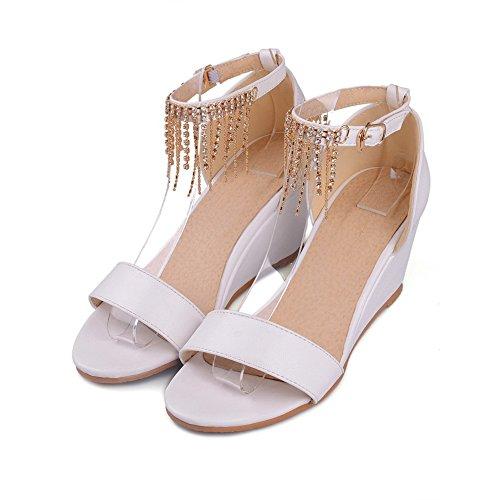 Amoonyfashion Womens Buckle High-heels Pu Solid Open-teen Sandalen Wit