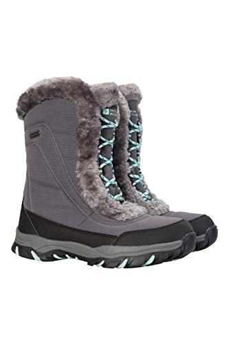 Mountain Warehouse Ohio Womens Winter Snow Boot - Ladies Warm Shoes Grey 9 M US Women