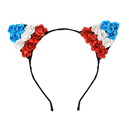 June Bloomy Cat Ear Headband Paper Rose Flower Crown Wreath Costume Headwear for Halloween (Red White Blue) ()