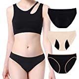 Intimate Portal Period Leak Proof Panties High-Cut Bikinis Incontinence Menstrual Underwear Women Girls 3-pk Black Black Beige S