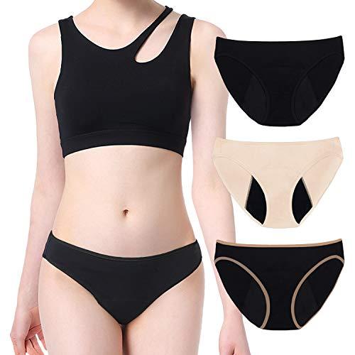Intimate Portal Period Leak Proof Panties High-Cut Bikinis Incontinence Menstrual Underwear Women Girls 3-pk Black Black Beige L