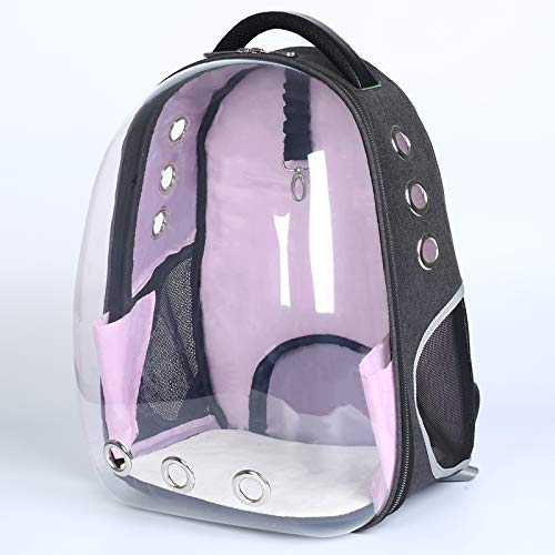 ESGLS Space Capsule Transparent Pet Carrier Backpack for Cat Kitten Doggie Puppy,Waterproof Carrier Purse, Portable Bubble Carrying Backpack Airline Approved (Pink) -
