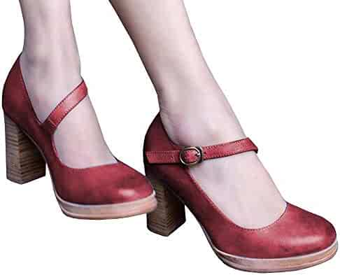 0163acb65 Womens Mary Jane Shoes Round Toe Vintage Chunky Block Pumps Heels Party  Lorita Dress Shoes