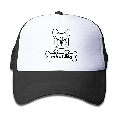 (Discovery Wild Youth Toddler Kid's Summer Mesh Cap With Adjustable Snapback Strap - FRENCH BULLDOG - Black)