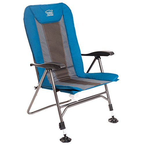 Timber Ridge Camping Chair Folding Heavy Duty with Adjustable Reclining Padded Back and Legs Supports 300lbs, Armrest, Outdoor, Fishing, Garden by Timber Ridge