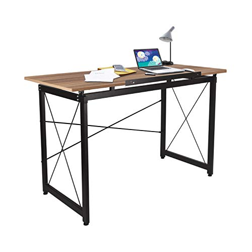 47'' Adjustable Drafting Table - Art and Craft Drawing Folding Desk - Reading & Writing Work Station (Yellow) by Elevens (Image #1)